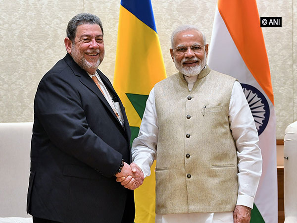 Ralph Everard Gonsalves, Prime Minister of St Vincent and Grenadines, on Tuesday met Prime Minister Narendra Modi in New Delhi. Photo/ANI
