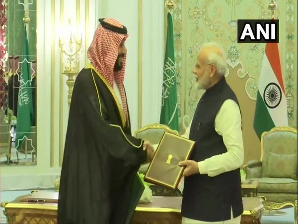 Saudi Crown Prince Mohammed bin Salman and Prime Minister Narendra Modi during the ceremony of signing of agreements in Riyadh on Tuesday.