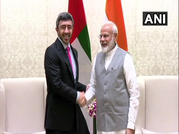 UAE Foreign Minister Sheikh Abdullah bin Zayed Al Nahyan with Prime Minister Narendra Modi in New Delhi on Tuesday.