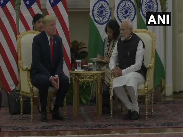Prime Minister Narendra Modi and US President Donald Trump hold talks at Hyderabad House on Tuesday.