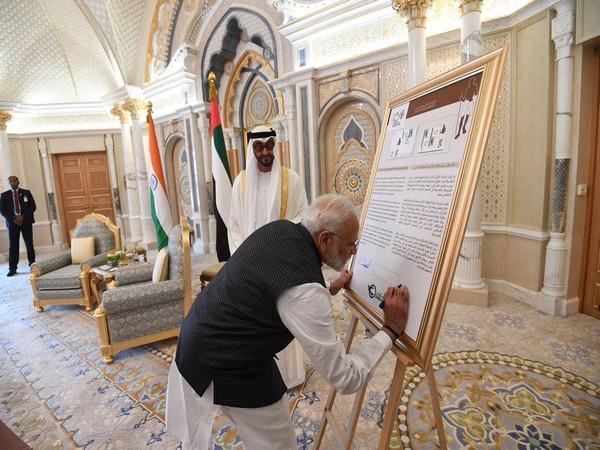 Commemorative stamp of Mahatma Gandhi released by India, UAE in Abu Dhabi on Saturday (Photo Credits: PMO Twitter)