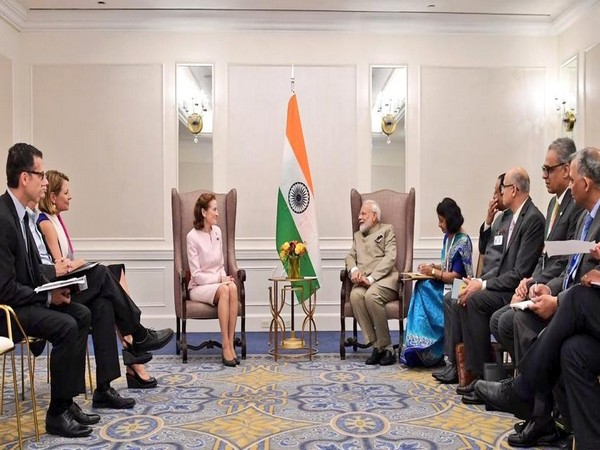 Prime Minister Narendra Modi and UNICEF Executive Director Henrietta Fore meeting in New York on Monday. (Photo Credits: Raveesh Kumar's Twitter)