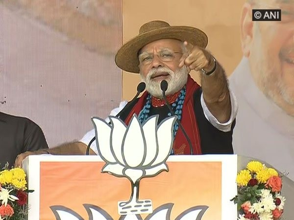 Prime Minister Narendra Modi addressing a rally in Pasighat, Arunachal Pradesh on Wednesday.