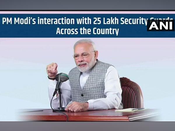 Prime Minister Narendra Modi speaking to 25 lakh security guards via audio bridge on Wednesday.