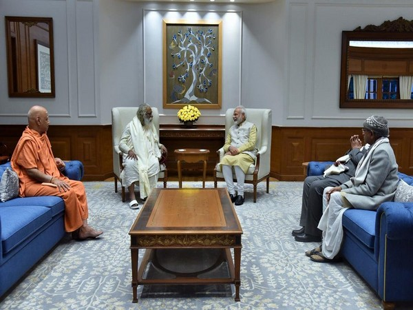 A visual from the meeting between members of Ram Temple Trust and Prime Minister Narendra Modi in New Delhi on Thursday. Photo/ANI