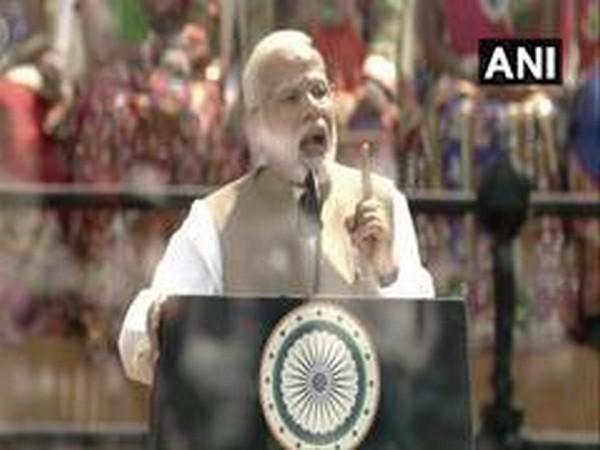Prime Minister Narendra Modi speaking at the Motera Stadium in Ahmedabad on Monday. Photo/ANI