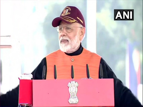 Prime Minister Narendra Modi speaking at National Cadet Corps event in New Delhi on Tuesday. Photo/ANI