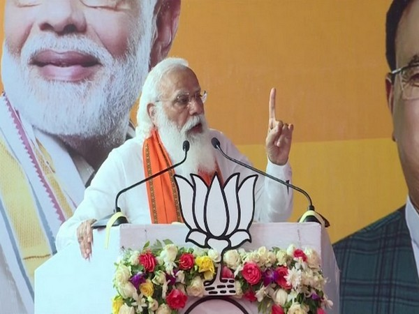 Prime Minister Narendra Modi adressing an election rally in Puducherry on Tuesday. Photo/ANI
