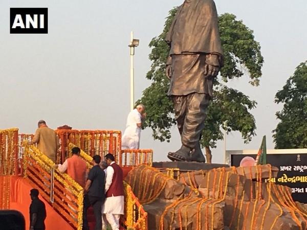 Prime Minister Narendra Modi pays tribute to Sardar Vallabhbhai Patel's statue near the Ahmedabad Airport.