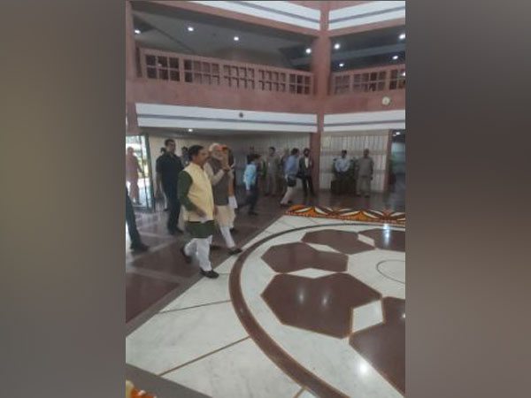 Prime Minister Narendra Modi arrives in Parliament for the all-party meeting on Sunday.