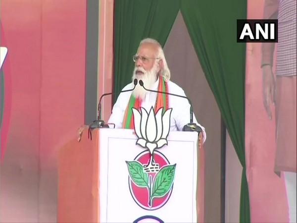 Prime Minister Narendra Modi addressing rally in Tamil Nadu. (ANI/Photo)