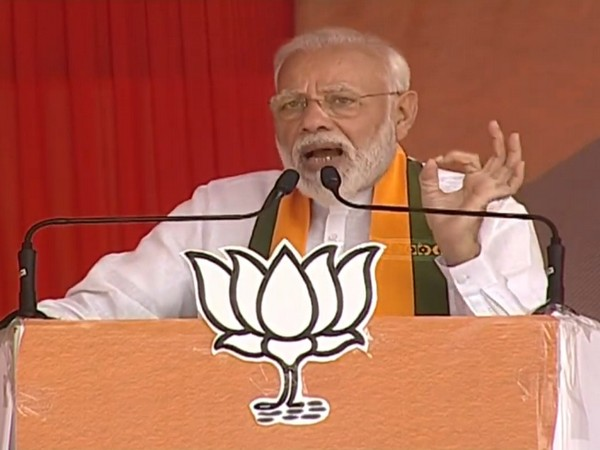 Prime Minister Narendra Modi speaking at an election rally in Sirsa on Saturday. Photo/ANI