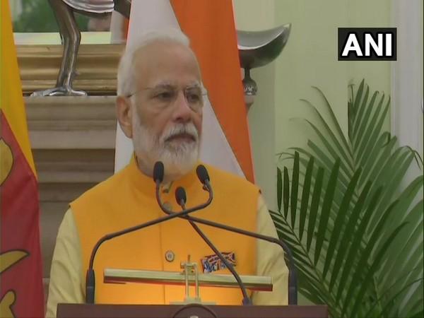 Prime Minister Narendra Modi addressing the media after talks with Sri Lankan counterpart Mahinda Rajapaksa on Saturday.