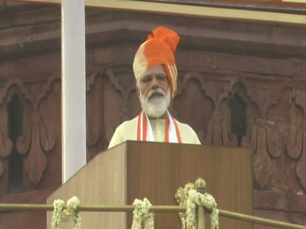 Prime Minister Narendra Modi addressing the nation from the ramparts of the Red Fort on Saturday. (Photo/ANI)