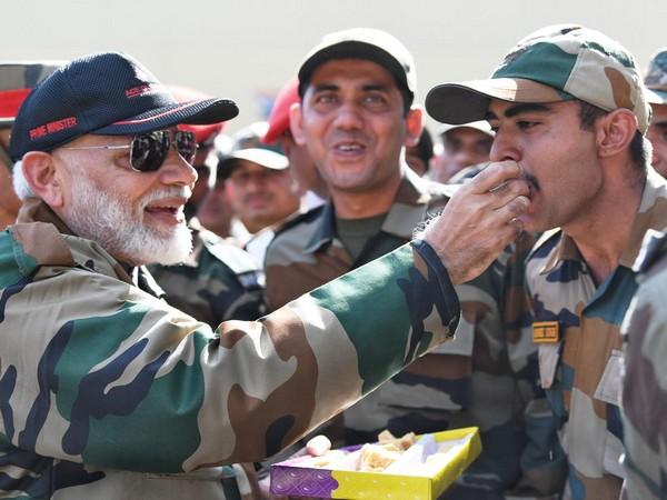 PM Narendra Modi with Army jawans in Rajouri district of J-K .