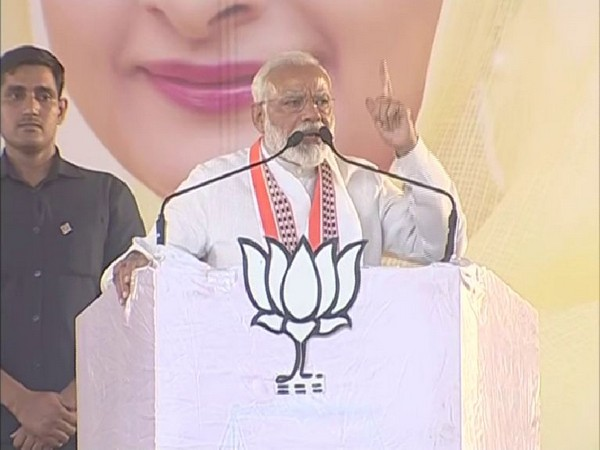 Prime Minister Narendra Modi at an election rally in Bathinda on Monday. Photo/ANI