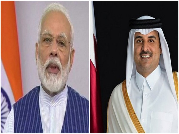Prime Minister Narendra Modi and Sheikh Tamim Bin Hamad al Thani, the Amir of Qatar