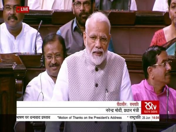 Prime Minister Narendra Modi addressing in Rajya Sabha on Wednesday.