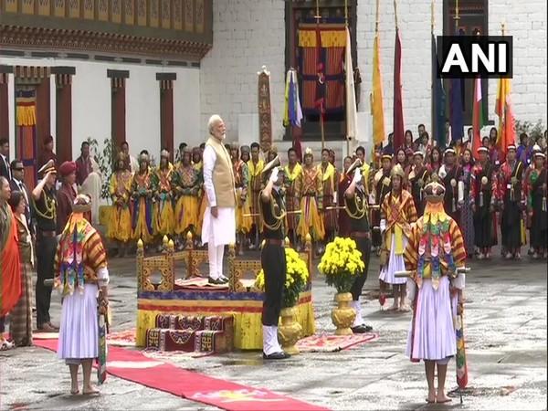 PM Narendra Modi receives guard of honour at Tashichhoedzong Palace in Thimphu on Saturday.