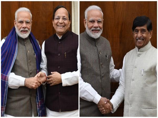 Prime Minister Narendra Modi meets new BJP Rajya Sabha MPs Arun Singh and KC Ramamurthy in New Delhi on Tuesday.
