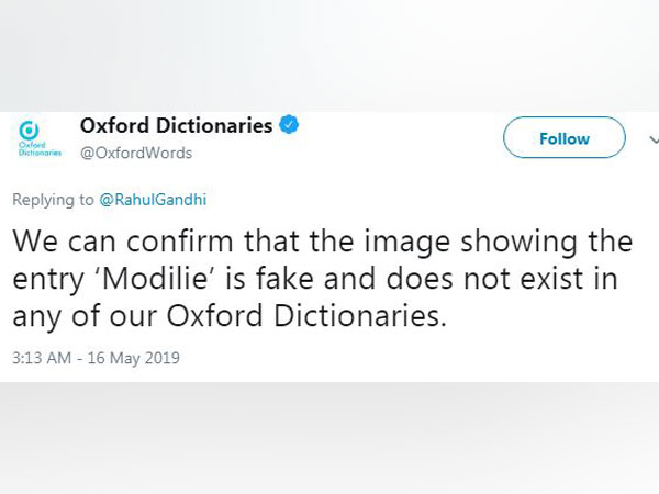 Oxford Dictionaries' reply to Congress president Rahul Gandhi on 'Modilie'.