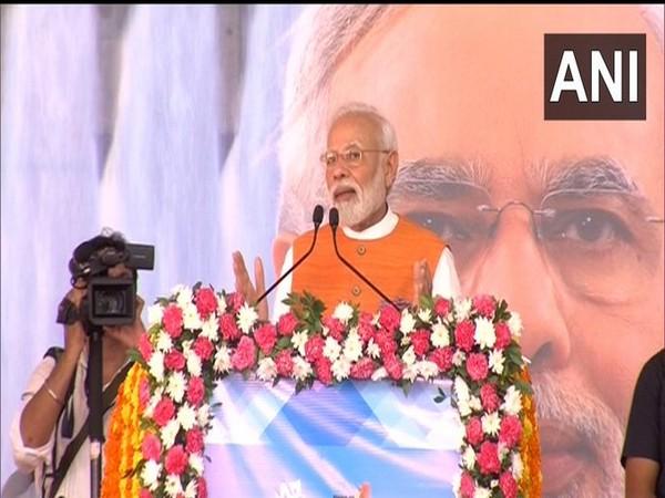 Prime Minister Narendra Modi addressing the people in Kevadia, Gujarat on Tuesday.