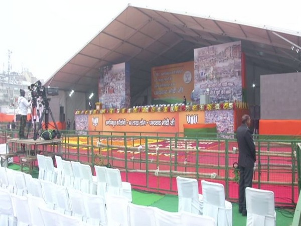 Visual of the stage set up for PM Narendra Modi's rally at Ramlila Maidan in New Delhi on Sunday. Photo/ANI