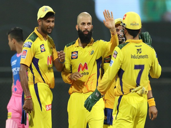 CSK spinner Moeen Ali celebrating after taking a wicket (Photo/ IPL Twitter)