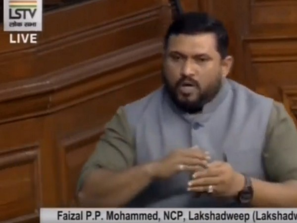 Lakshadweep MP PP Mohammed Faizal speaking in the Lok Sabha on Monday. (Photo/ANI)