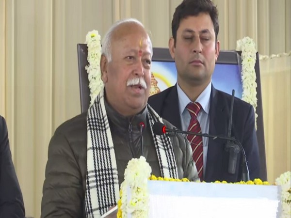 RSS chief Mohan Bhagwat addressing a gathering in New Delhi on Tuesday. Photo/ANI