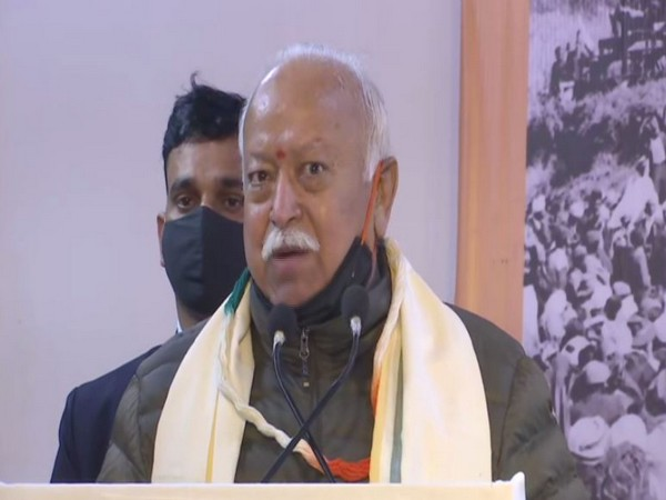 RSS chief Mohan Bhagwat speaking at the release of book 'Making of a Hindu patriot' in New Delhi on Friday [Photo/ANI]