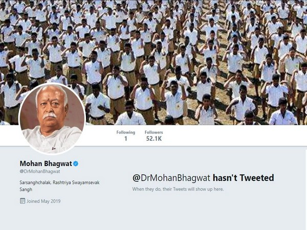 Screen grab of RSS chief Mohan Bhagwat's verified twitter profile on which he is yet to post