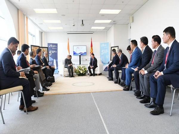 Prime Minister Narendra Modi along with Mongolian President Khaltmaagiin Battulga in Vladivostok on Thursday (Picture Credit: Raveesh Kumar/Twitter)