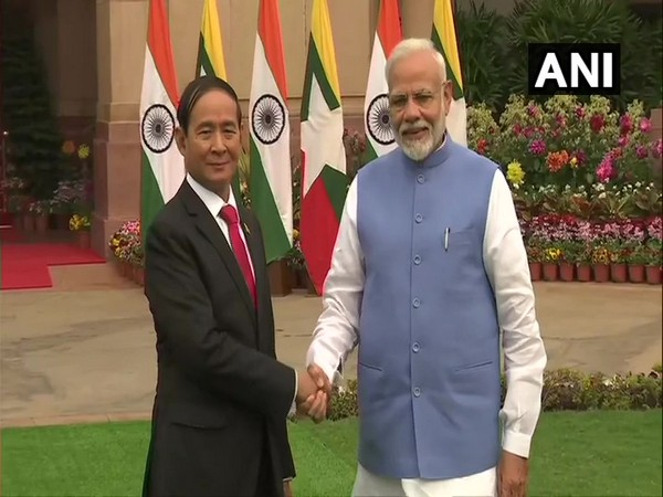 President of Myanmar, U Win Myint with Prime Minister Narendra Modi, at Hyderabad House