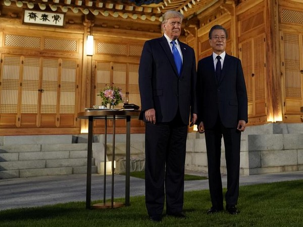 US President Donald Trump with his South Korean counterpart Moon Jae-in in Seoul on Saturday.