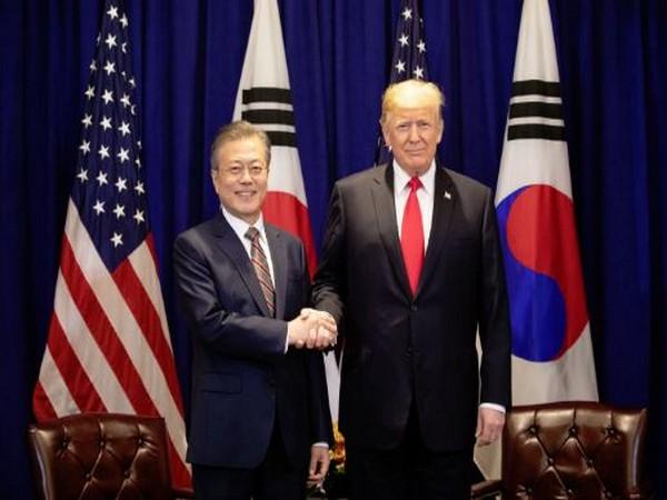 South Korean President Moon Jae-in alongside US President Donald Trump during their April 2019 meeting in Washington