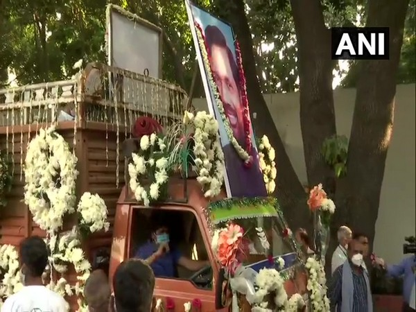 Mortal remains of Union Minister and LJP leader Ram Vilas Paswan, being brought out of his residence on Friday.