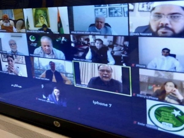 Major political leaders during the virtual meeting to elect the chief for Pakistan Democratic Movement. (Credit: Mohsin Dawar Twitter)