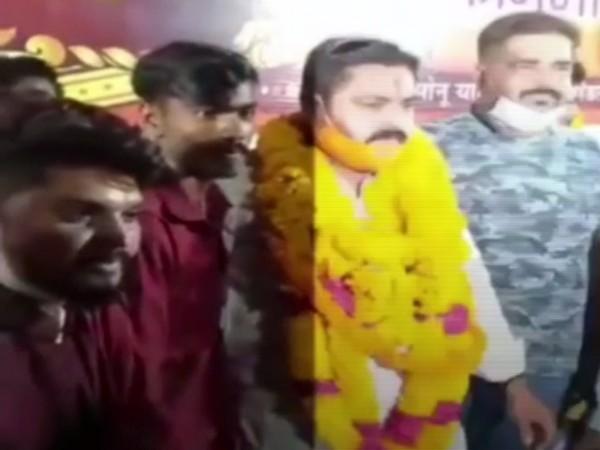 BJP Yuva Morcha district president Mridul Dwivedi. (Source: viral video)