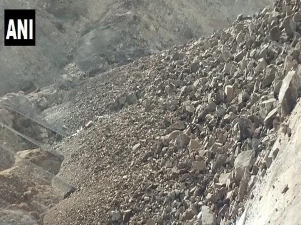 Major landslide blocks Gangotri highway in Chungi Barethi area on Sunday.