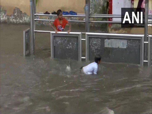 Water-logging due to incessant rainfall in Mumbai on Wednesday (Photo/ANI)