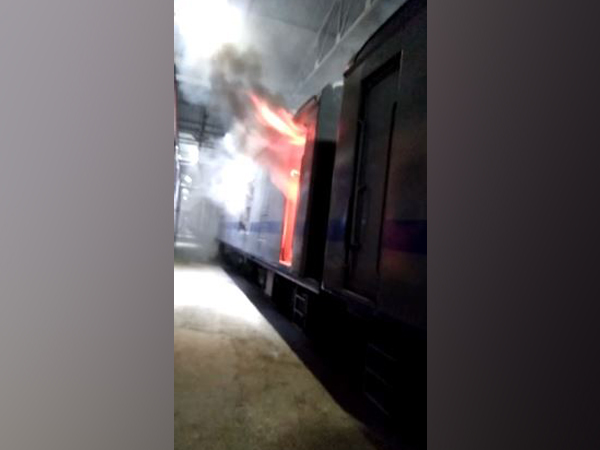 Fire in AC rake at Mumbai Central car shed. Photo/ANI