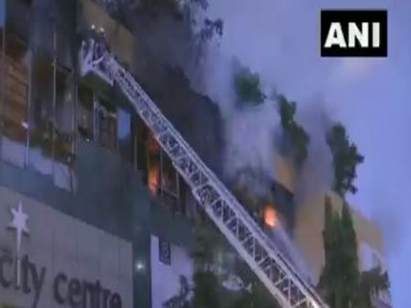 Firefighting operations underway at the mall in Mumbai's Nagpada. Photo/ANI
