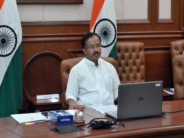 Minister of State for External Affairs V Muraleedharan during the virtual ministerial pledging conference for UNRWA on Tuesday. (Photo Source: Muraleedharan Twitter)