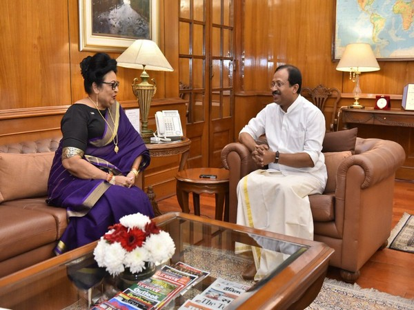 Fijian minister Veena Bhatnagar and MoS MEA V Muraleedharan in New Delhi on Tuesday.