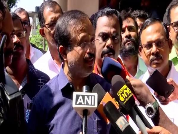 Union Minister of State for External Affairs V Muraleedharan talking to reporters in Thiruvananthapuram, Kerala on Sunday. Photo/ANI