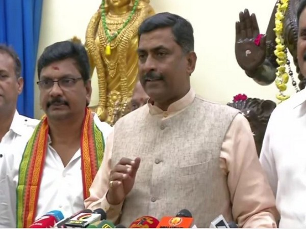 BJP national general secretary Muralidhar Rao speaking at a press conference in Chennai on Wednesday. Photo/ANI