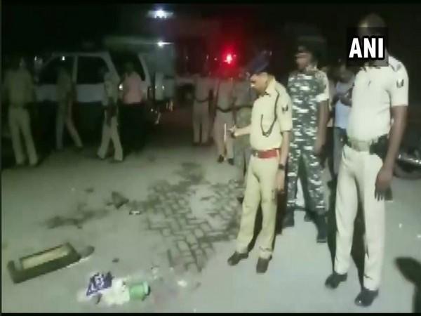 Police officials investigating the accident site at Muzaffarpur. Photo/ANI