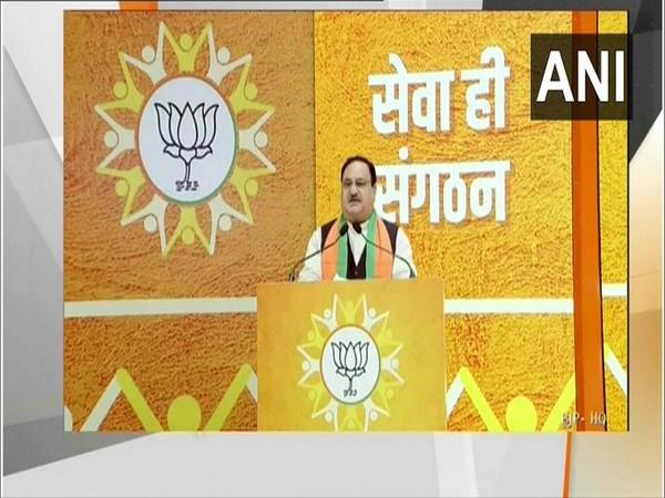 BJP Chief JP Nadda during 'Seva Hi Sangathan' programme in New Delhi