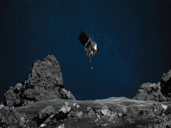 An illustration showing NASA's OSIRIS-REx spacecraft descending towards asteroid Bennu to collect a sample of the asteroid's surface (Photo courtesy: NASA/Goddard/University of Arizona)